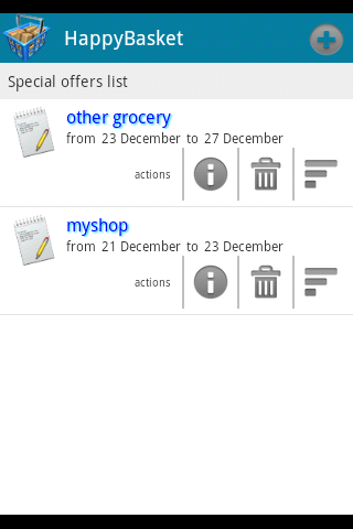 shopping list screen